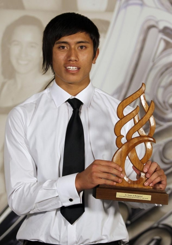 Junior Sportsman of the Year award Reuben Te Rangi. Trillian Trust 20th Maori Sports Awards, Telstra Clear Events Centre, Manukau, Auckland, Saturday 4 December 2010. Photo: Simon Watts/photosport.co.nz