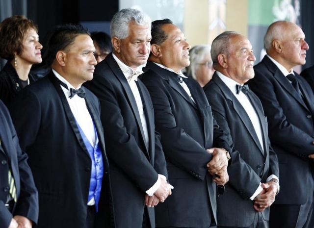 Members of the Board of trustees during the Powhiri. Trillian Trust Maori Sports Awards, Manukau Events Centre, Auckland. Saturday 5 December 2009. Photo: Simon Watts/PHOTOSPORT