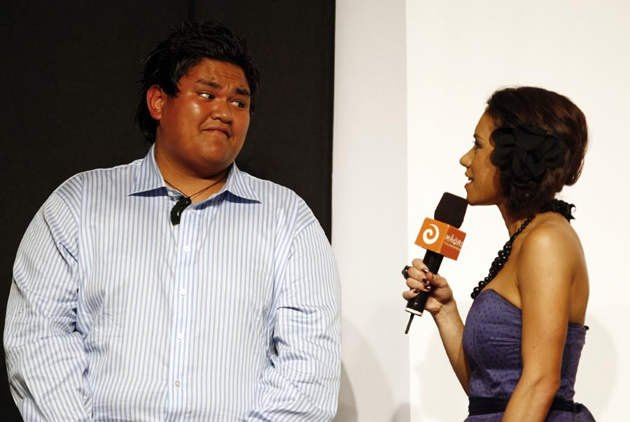 Host Stacey Morrison interviews World Champion power lifter Tohora Harawira. Trillian Trust Maori Sports Awards, Manukau Events Centre, Auckland. Saturday 5 December 2009. Photo: Simon Watts/PHOTOSPORT