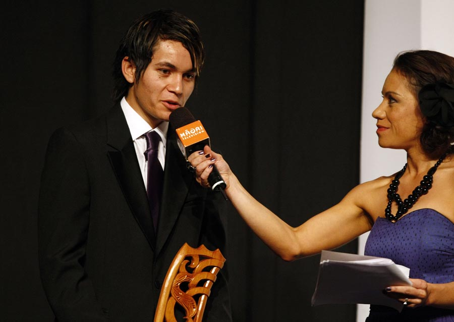 Host Stacey Morrison interviews World Champion karate fighter Shayne Taupo. Trillian Trust Maori Sports Awards, Manukau Events Centre, Auckland. Saturday 5 December 2009. Photo: Simon Watts/PHOTOSPORT