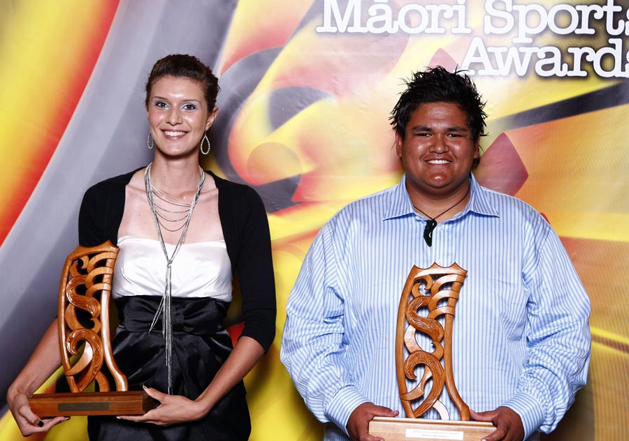 World champion power lifter Tohora Harawira and World Champion pistol shooter Tiffany Piper. Trillian Trust Maori Sports Awards, Manukau Events Centre, Auckland. Saturday 5 December 2009. Photo: Simon Watts/PHOTOSPORT