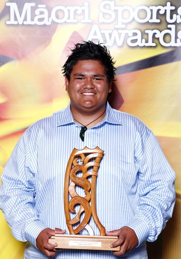 World champion power lifter Tohora Harawira. Trillian Trust Maori Sports Awards, Manukau Events Centre, Auckland. Saturday 5 December 2009. Photo: Simon Watts/PHOTOSPORT