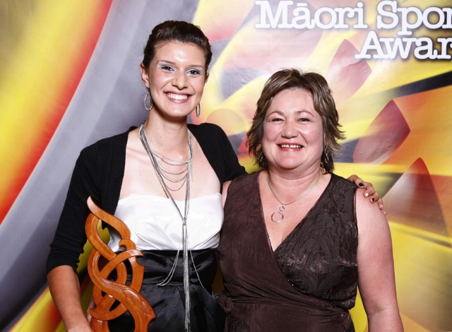 Junior Sportswomen of the Year winner Tiffany Piper with award sponsor Moana Tapsell of NZCT. Trillian Trust Maori Sports Awards, Manukau Events Centre, Auckland. Saturday 5 December 2009. Photo: Simon Watts/PHOTOSPORT