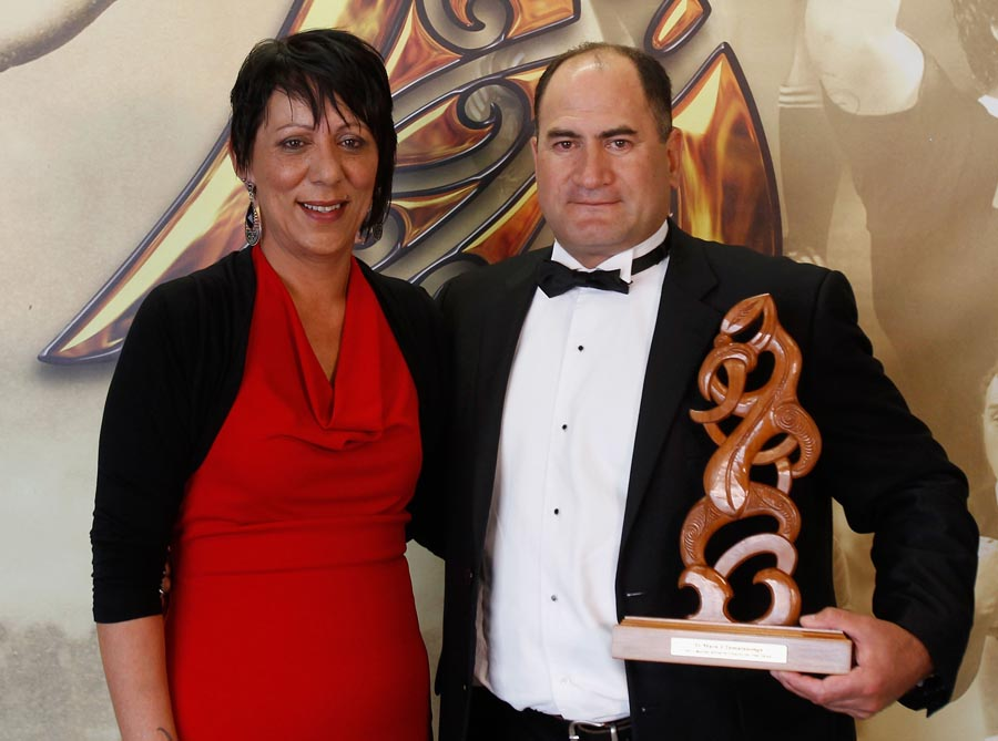 Maori Sports Coach presented by Yvonne O'Brien is awarded to John Love. Trillian Trust 2011 Maori Sports Awards, Telstra Clear Pacific Events Centre, Saturday 3rd December 2011. Photo: Shane Wenzlick / Photosport.co.nz