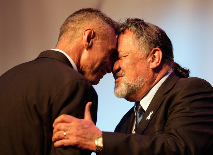 Dr Pita Sharples greets Peter Walters. Maori World Champions in Teams presented by Dr Pita Sharples. Trillian Trust 2011 Maori Sports Awards, Telstra Clear Pacific Events Centre, Saturday 3rd December 2011. Photo: Shane Wenzlick / Photosport.co.nz