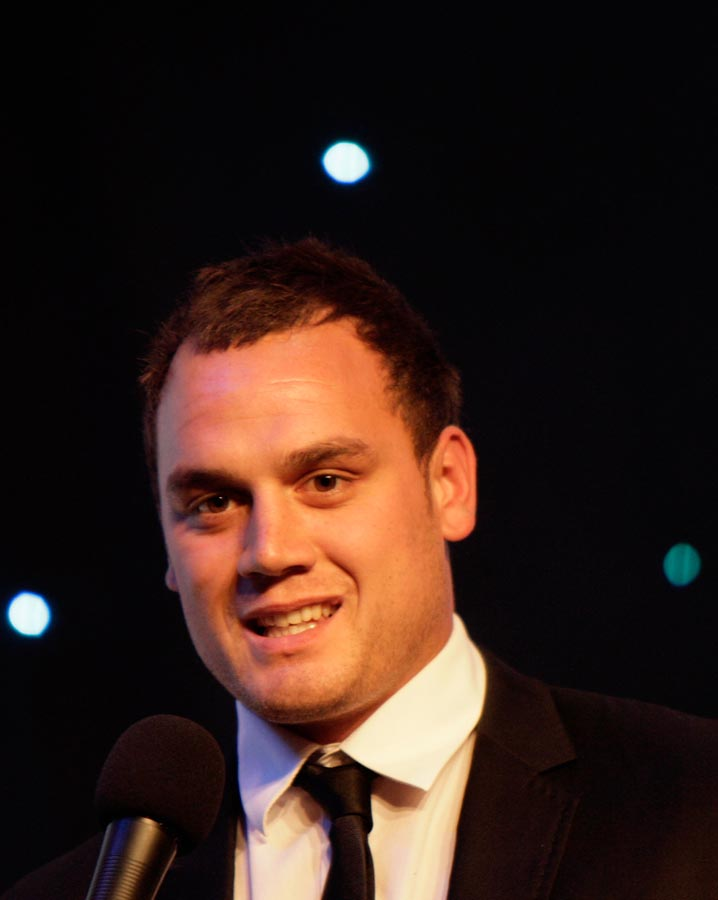 All Black Israel Dagg. Maori World Champions in Teams presented by Dr Pita Sharples. Trillian Trust 2011 Maori Sports Awards, Telstra Clear Pacific Events Centre, Saturday 3rd December 2011. Photo: Shane Wenzlick / Photosport.co.nz