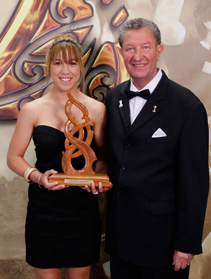 Junior Maori Sportswoman is presented by Peter Dale is awarded to Thea Awhitu. Trillian Trust 2011 Maori Sports Awards, Telstra Clear Pacific Events Centre, Saturday 3rd December 2011. Photo: Shane Wenzlick / Photosport.co.nz