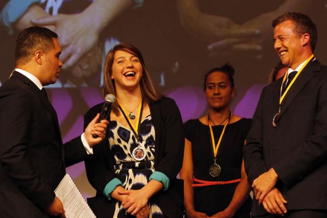 Dr Pita Sharples presents the Maori Olympians Awards. Maori Sports Awards, Telstra Pacific Events Centre Manukau, Saturday 24th November 2012. Photo: Shane Wenzlick / Photosport.co.nz