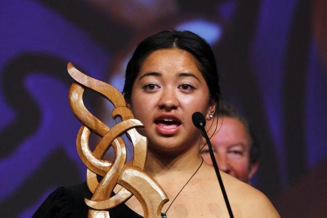 Kataraina Brown is awarded Junior Maori Sportswoman. Maori Sports Awards, Telstra Pacific Events Centre Manukau, Saturday 24th November 2012. Photo: Shane Wenzlick / Photosport.co.nz