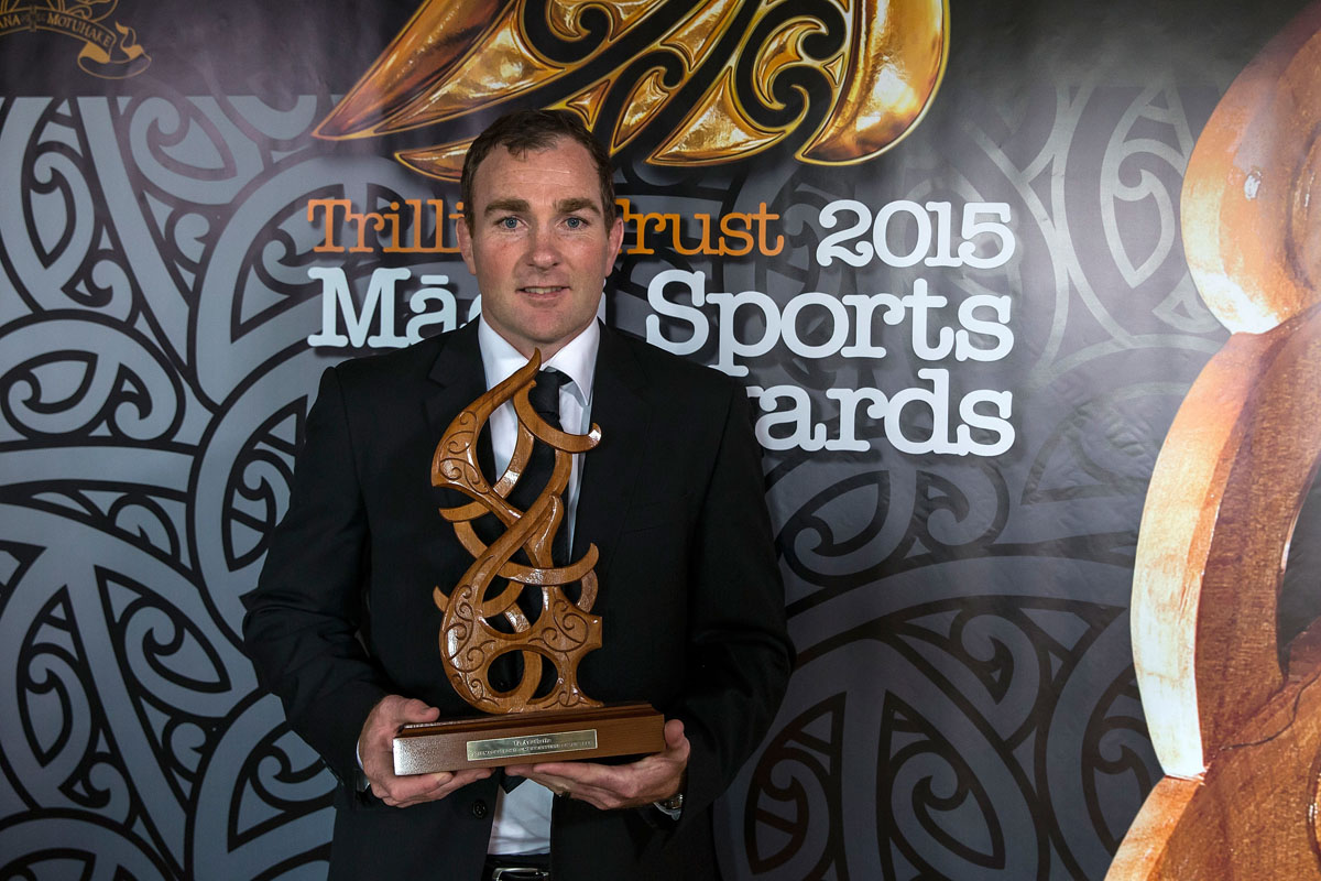 Glen Jackson, (Ngai Tahu), Rugby wins the Maori Umpire/Referee Award at the Trillian Trust Maori Sports Awards, Turangawaewae Marae, River Road, Ngaruawahia, Saturday, November 28, 2015. Copyright photo: David Rowland / www.photosport.nz