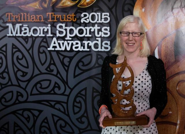 Emma Foy, (Ngati Kahu), Para-Cycling wins the Disabled Maori Sports Person Award at the Trillian Trust Maori Sports Awards, Turangawaewae Marae, River Road, Ngaruawahia, Saturday, November 28, 2015. Copyright photo: David Rowland / www.photosport.nz