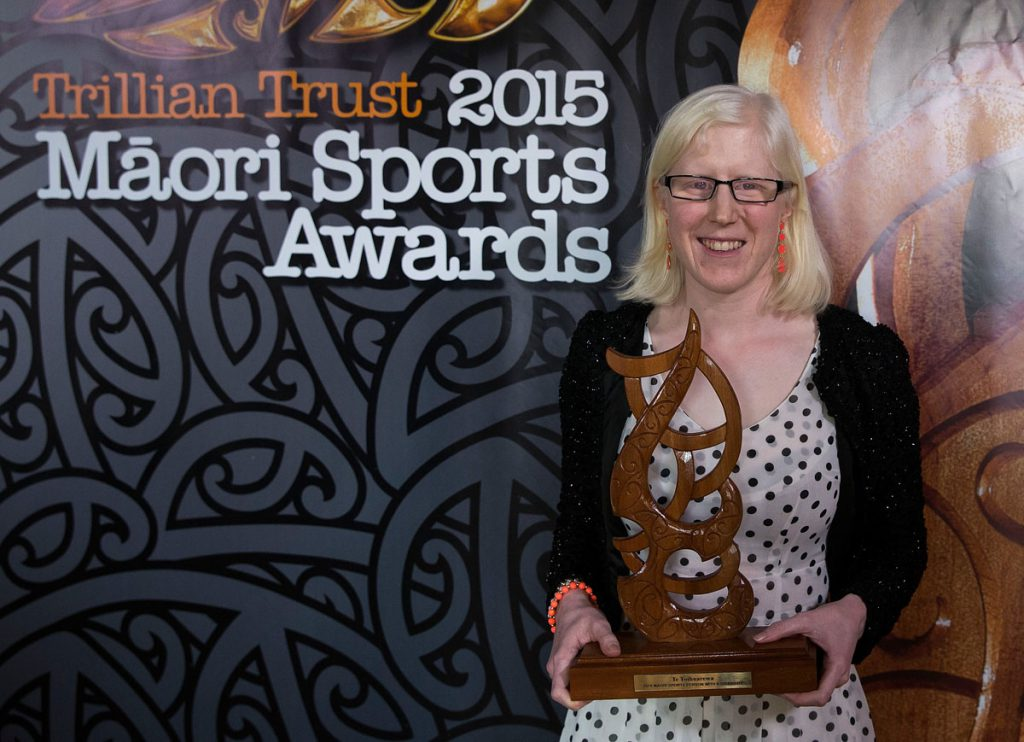 Emma Foy, (Ngati Kahu), Para-Cycling wins the Disabled Maori Sports Person Award at the Trillian Trust Maori Sports Awards, Turangawaewae Marae, River Road, Ngaruawahia, Saturday, November 28, 2015. Copyright photo: David Rowland / www.photosport.nz