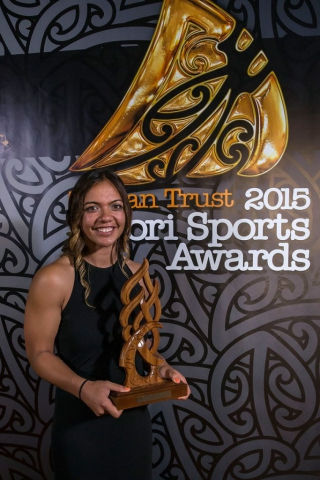 Stacey Waaka, (Ngai Tahoe), Rugby Sevens wins the Junior Maori Sportswoman Award at the Trillian Trust Maori Sports Awards, Turangawaewae Marae, River Road, Ngaruawahia, Saturday, November 28, 2015. Copyright photo: David Rowland / www.photosport.nz