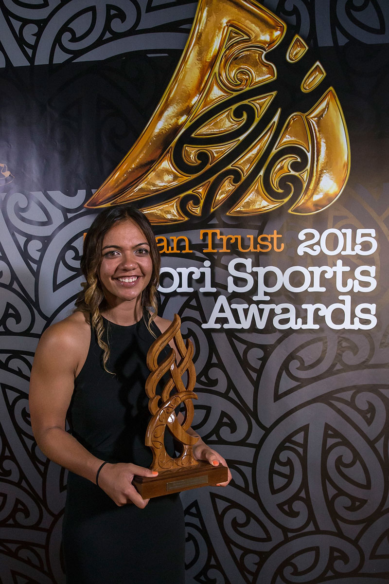 Stacey Waaka, (Ngai Tahoe), Rugby Sevens wins the Junior Maori Sportswoman Award at the Trillian Trust Maori Sports Awards, Turangawaewae Marae, River Road, Ngaruawahia, Saturday, November 28, 2015. Copyright photo: David Rowland / www.photosport.nz