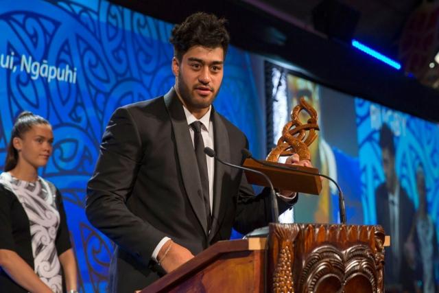 Akira Ioane, (Te Whanau-a-Apanui, Ngapuhi), Rugby wins the Junior Maori Sportsman Award at the Trillian Trust Maori Sports Awards, Turangawaewae Marae, River Road, Ngaruawahia, Saturday, November 28, 2015. Copyright photo: David Rowland / www.photosport.nz