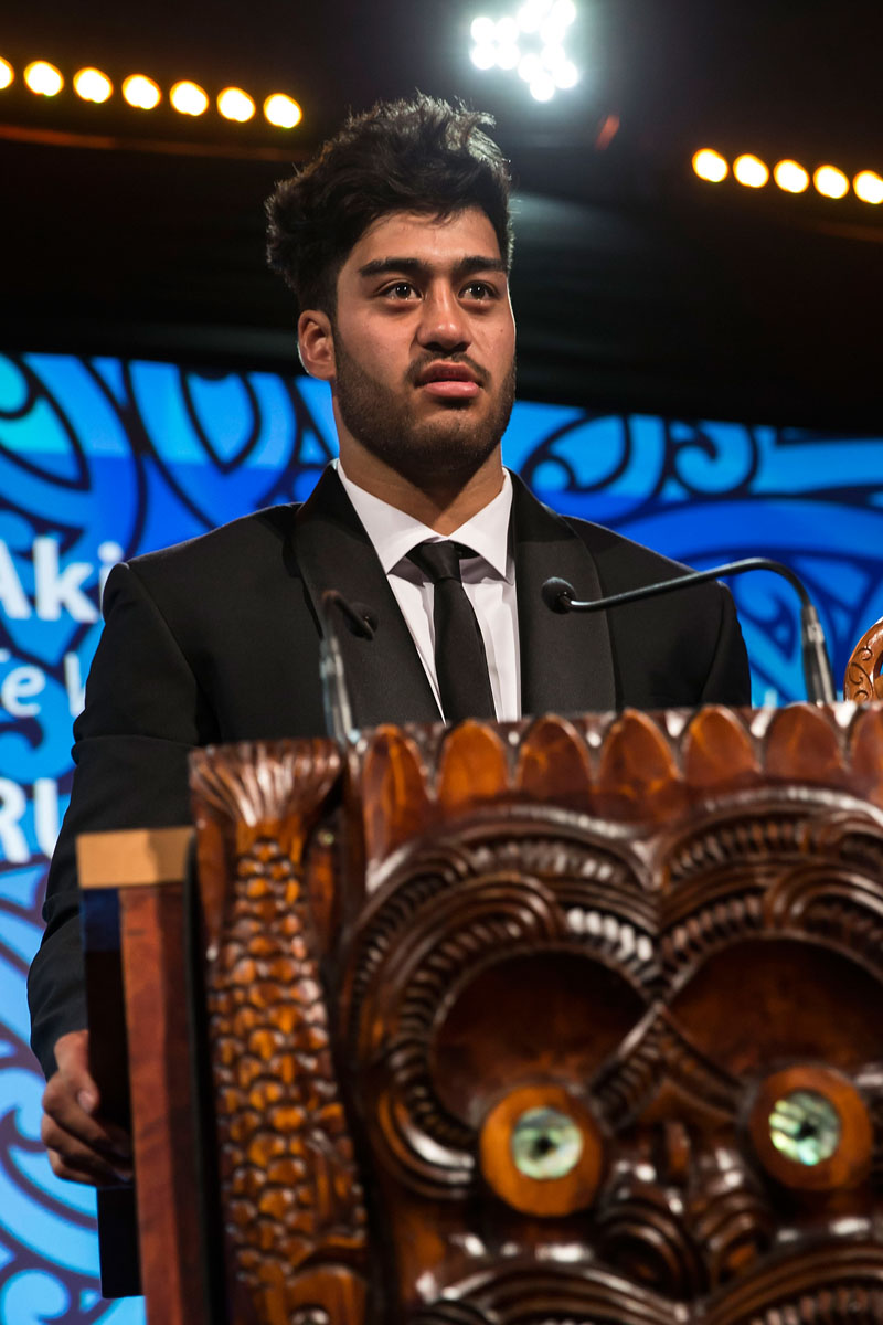Akira Ioane, (Te Whanau-a-Apanui, Ngapuhi), Rugby wins the Junior Maori Sportsman Award at the Trillian Trust Maori Sports Awards, Turangawaewae Marae, River Road, Ngaruawahia, Saturday, November 28, 2015. Copyright photo: David Rowland / www.photosport.nz