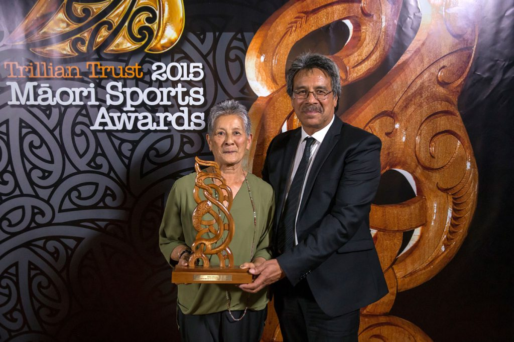 Doreen Carrington and Pat Carrington accept the Senior Maori Sportswoman Award which was won by Lisa Carrington, (Ngati Porou, Te Aitanga-a-Mahaki), Canoe Racing at the Trillian Trust Maori Sports Awards, Turangawaewae Marae, River Road, Ngaruawahia, Saturday, November 28, 2015. Copyright photo: David Rowland / www.photosport.nz