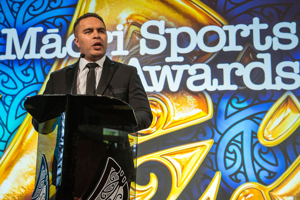 Te Arahi Maipi at the Trillian Trust Maori Sports Awards, Turangawaewae Marae, River Road, Ngaruawahia, Saturday, November 28, 2015. Copyright photo: David Rowland / www.photosport.nz