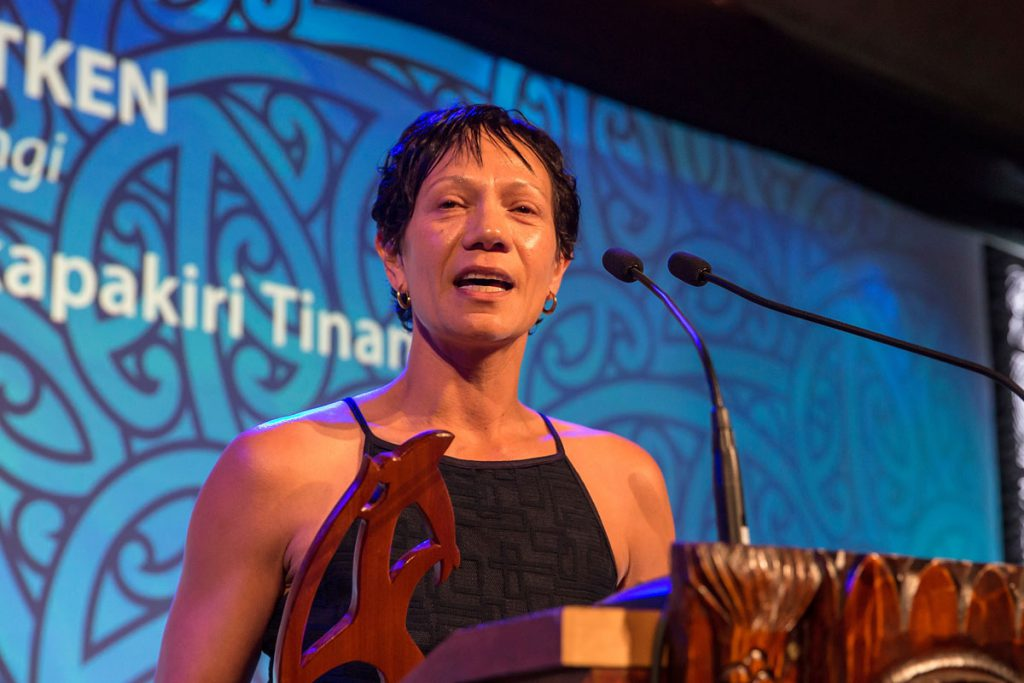 Lana Aitken,(Ngai Te Rangi),Te Whakapakari Tinana receives the Maori Sports Administrator Award at the Trillian Trust Maori Sports Awards, Turangawaewae Marae, River Road, Ngaruawahia, Saturday, November 28, 2015. Copyright photo: David Rowland / www.photosport.nz