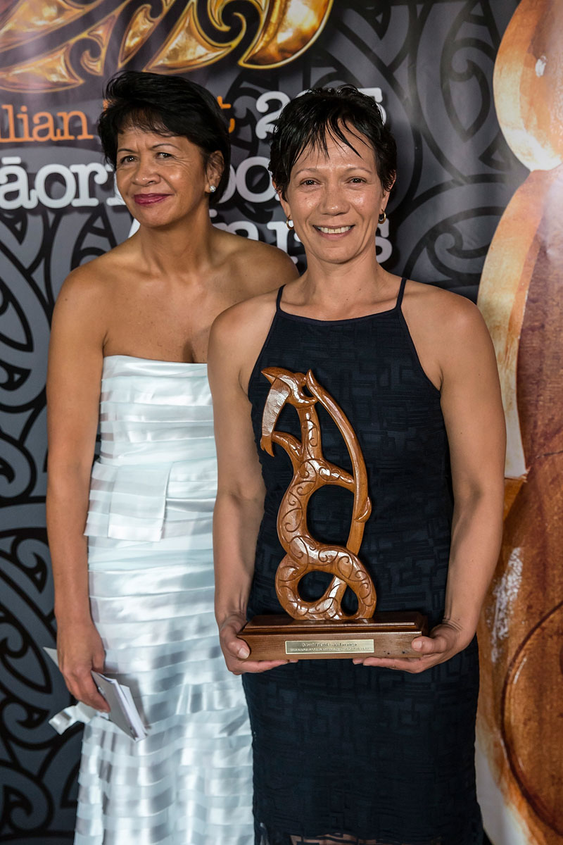 Agnes Naera from AUT, left, presents to Lana Aitken,(Ng?i Te Rangi),Te Whakapakari Tinana the Maori Sports Administrator Award at the Trillian Trust Maori Sports Awards, Turangawaewae Marae, River Road, Ngaruawahia, Saturday, November 28, 2015. Copyright photo: David Rowland / www.photosport.nz