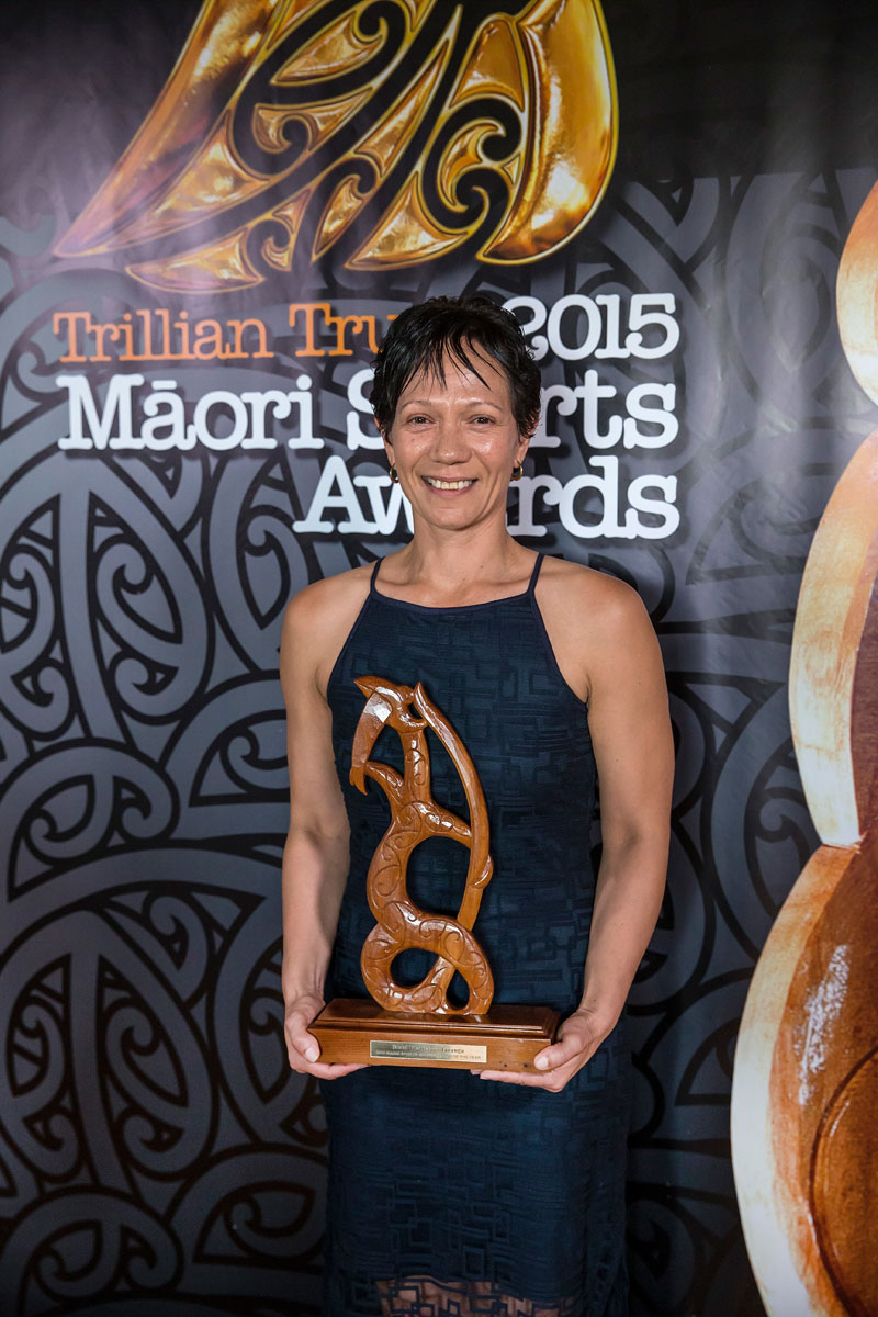 Lana Aitken,(Ngai Te Rangi),Te Whakapakari Tinana wins the Maori Sports Administrator Award at the Trillian Trust Maori Sports Awards, Turangawaewae Marae, River Road, Ngaruawahia, Saturday, November 28, 2015. Copyright photo: David Rowland / www.photosport.nz