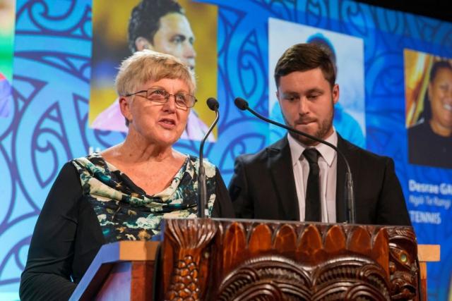 Noeline and Mark Walsh from Four Winds present the Maori Umpire/Referee Award at the Trillian Trust Maori Sports Awards, Turangawaewae Marae, River Road, Ngaruawahia, Saturday, November 28, 2015. Copyright photo: David Rowland / www.photosport.nz