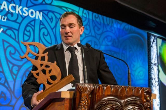 Glen Jackson, (Ngai Tahu), Rugby receives the Maori Umpire/Referee Award at the Trillian Trust Maori Sports Awards, Turangawaewae Marae, River Road, Ngaruawahia, Saturday, November 28, 2015. Copyright photo: David Rowland / www.photosport.nz