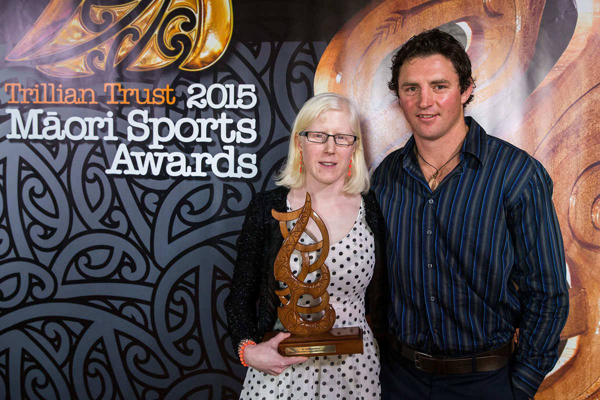 Henry Foy with his sister Emma Foy, (Ngati Kahu), Para-Cycling who won the Disabled Maori Sports Person Award at the Trillian Trust Maori Sports Awards, Turangawaewae Marae, River Road, Ngaruawahia, Saturday, November 28, 2015. Copyright photo: David Rowland / www.photosport.nz