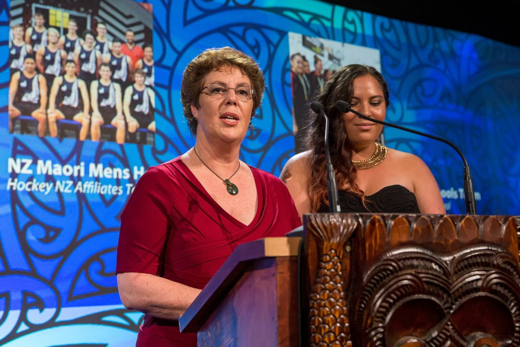Audrey Hauraki from Erhard Trust presents to Maori Sports Team Award at the Trillian Trust Maori Sports Awards, Turangawaewae Marae, River Road, Ngaruawahia, Saturday, November 28, 2015. Copyright photo: David Rowland / www.photosport.nz