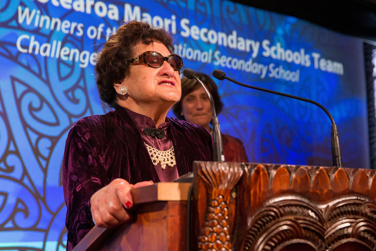 Dame June Mariu accepts the Maori Sports Team Award on behalf of the Aotearoa Maori Secondary Schools Team at the Trillian Trust Maori Sports Awards, Turangawaewae Marae, River Road, Ngaruawahia, Saturday, November 28, 2015. Copyright photo: David Rowland / www.photosport.nz