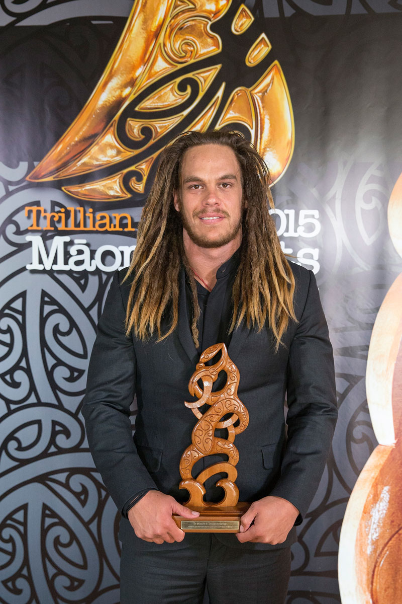 Dan Pryor accepts the Maori Sports Coach Award on behalf of Jamie Joseph, (Rangitane), Rugby at the Trillian Trust Maori Sports Awards, Turangawaewae Marae, River Road, Ngaruawahia, Saturday, November 28, 2015. Copyright photo: David Rowland / www.photosport.nz