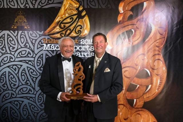 Sir Toby Curtis, left, and Trevor Maxwell NZCT present the Maori Sports Coach Award at the Trillian Trust Maori Sports Awards, Turangawaewae Marae, River Road, Ngaruawahia, Saturday, November 28, 2015. Copyright photo: David Rowland / www.photosport.nz
