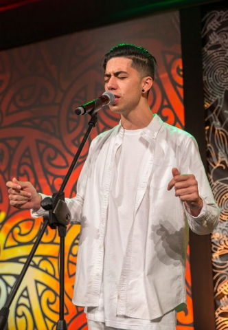 Te Karehana Gardiner-Toi entertains at the Trillian Trust Maori Sports Awards, Turangawaewae Marae, River Road, Ngaruawahia, Saturday, November 28, 2015. Copyright photo: David Rowland / www.photosport.nz
