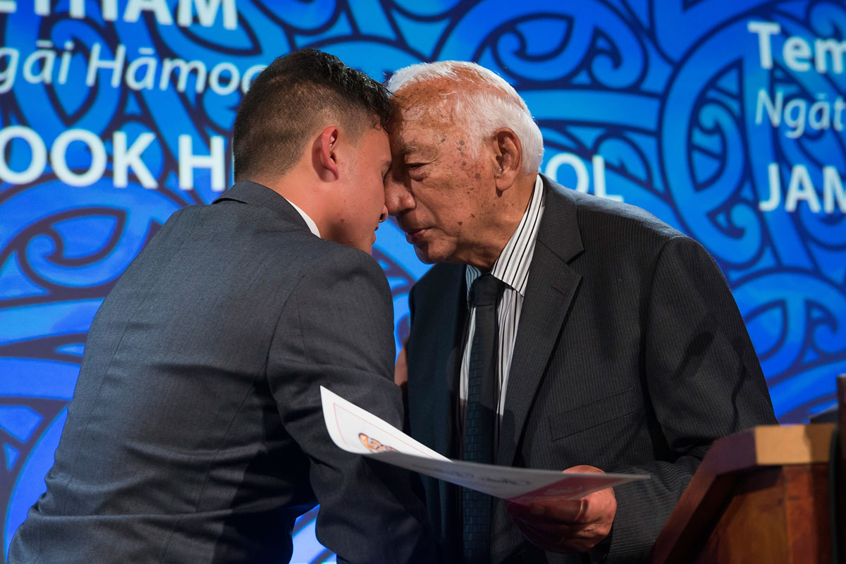 Kukupa Tirikatene from MIT presents to Andre Betham the Maori Sports Award Scholarship (MIT) at the Trillian Trust Maori Sports Awards, Turangawaewae Marae, River Road, Ngaruawahia, Saturday, November 28, 2015. Copyright photo: David Rowland / www.photosport.nz
