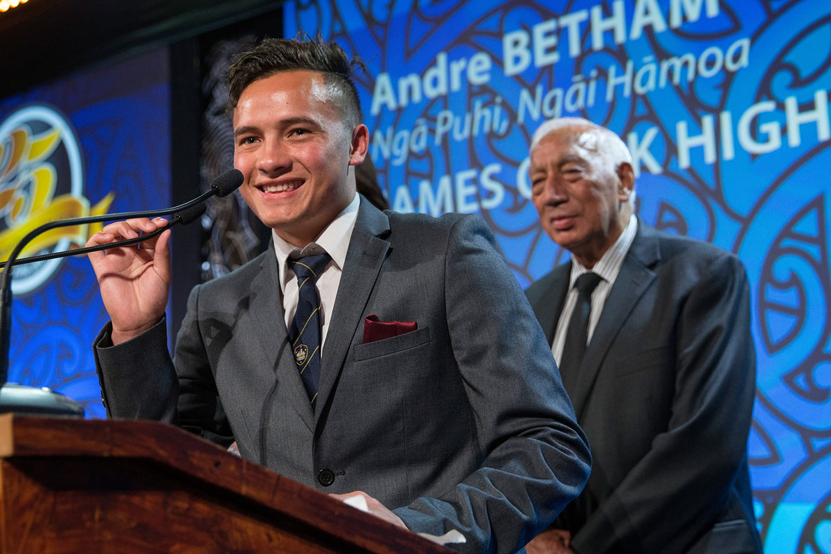 Andre Betham accepts the Maori Sports Award Scholarship (MIT) at the Trillian Trust Maori Sports Awards, Turangawaewae Marae, River Road, Ngaruawahia, Saturday, November 28, 2015. Copyright photo: David Rowland / www.photosport.nz