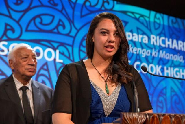 Temapara Richards accepts the Maori Sports Award Scholarship (MIT) at the Trillian Trust Maori Sports Awards, Turangawaewae Marae, River Road, Ngaruawahia, Saturday, November 28, 2015. Copyright photo: David Rowland / www.photosport.nz