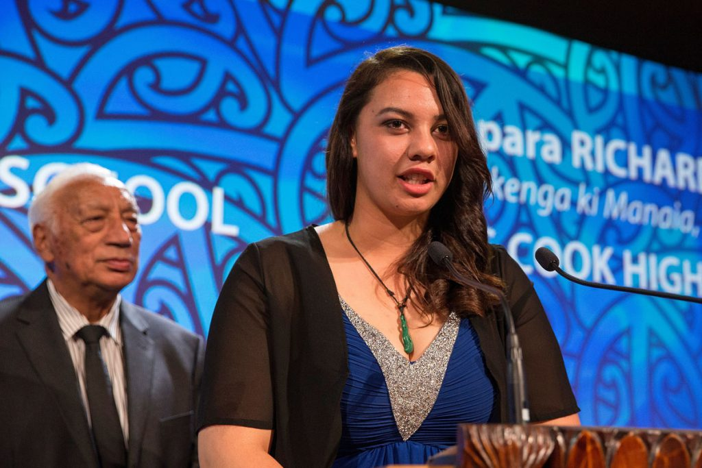 Temapara Richards accepts the Maori Sports Award Scholarship (MIT) at the Trillian Trust Maori Sports Awards, Turangawaewae Marae, River Road, Ngaruawahia, Saturday, November 28, 2015. Copyright photo: David Rowland / www.photosport.nz
