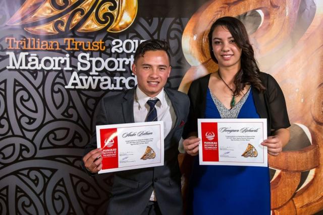 Andre Betham and Temapara Richards accept the Maori Sports Award Scholarships (MIT) at the Trillian Trust Maori Sports Awards, Turangawaewae Marae, River Road, Ngaruawahia, Saturday, November 28, 2015. Copyright photo: David Rowland / www.photosport.nz
