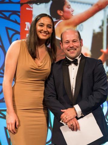 Kate Burley, Netball accepts the Maori Sports Award Scholarships (Skills Active) from Alex Brunt from Skills Active at the Trillian Trust Maori Sports Awards, Turangawaewae Marae, River Road, Ngaruawahia, Saturday, November 28, 2015. Copyright photo: David Rowland / www.photosport.nz