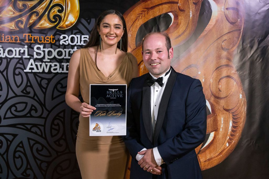 Kate Burley, Netball accepts the Maori Sports Award Scholarships (Skills Active) from Alex Brunt from Skills Active at the Trillian Trust Maori Sports Awards, Turangawaewae Marae, River Road, Ngaruawahia, Saturday, November 28, 2015. Copyright photo: David Rowland / www.photosport.nz