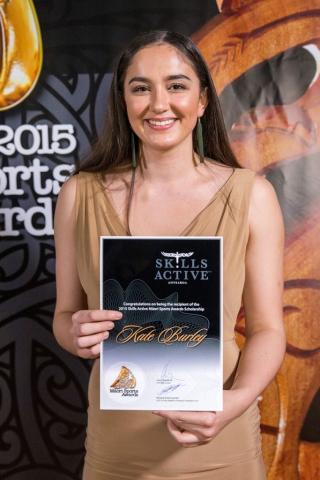 Kate Burley, Netball accepts the Maori Sports Award Scholarships (Skills Active) at the Trillian Trust Maori Sports Awards, Turangawaewae Marae, River Road, Ngaruawahia, Saturday, November 28, 2015. Copyright photo: David Rowland / www.photosport.nz