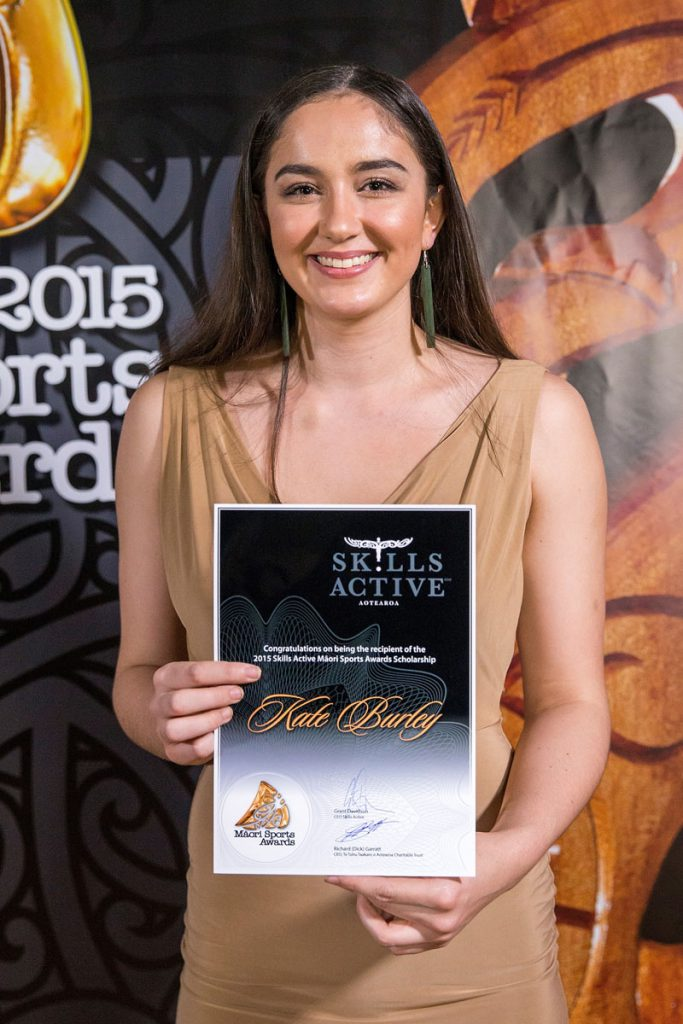 Kate Burley, Netball accepts the Maori Sports Award Scholarships (Skills Active) at the Trillian Trust Maori Sports Awards, Turangawaewae Marae, River Road, Ngaruawahia, Saturday, November 28, 2015. Copyright photo: David Rowland / www.photosport.nz