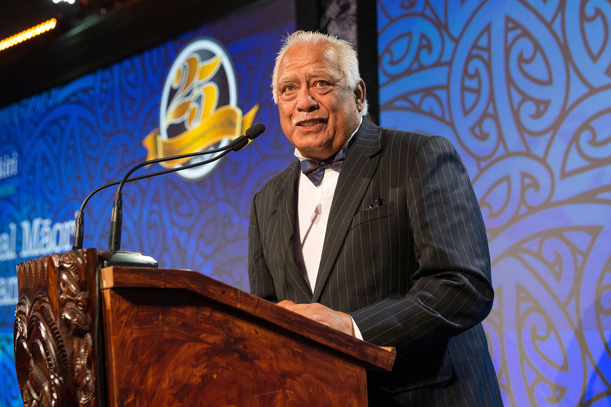 Hemana Waaka presents TPK Maori World Champions Awards at the Trillian Trust Maori Sports Awards, Turangawaewae Marae, River Road, Ngaruawahia, Saturday, November 28, 2015. Copyright photo: David Rowland / www.photosport.nz