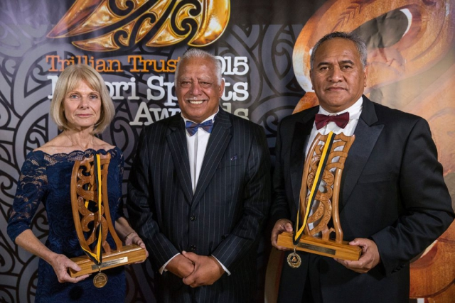 The TPK Maori World Champions Awards presented by Hemana Waaka were accepted on behalf of Lisa Carrington, (Ngati Porou, Te Aitanga-a-Mahaki), Canoe Racing and Jason Wynyard, (Ng?ti Maniapoto), Woodchopping at the Trillian Trust Maori Sports Awards, Turangawaewae Marae, River Road, Ngaruawahia, Saturday, November 28, 2015. Copyright photo: David Rowland / www.photosport.nz