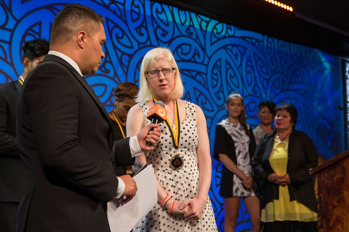 Emma Foy, (Ngati Kahu), Para-Cycling is interviewed by Te Arahi Maipi at the Trillian Trust Maori Sports Awards, Turangawaewae Marae, River Road, Ngaruawahia, Saturday, November 28, 2015. Copyright photo: David Rowland / www.photosport.nz