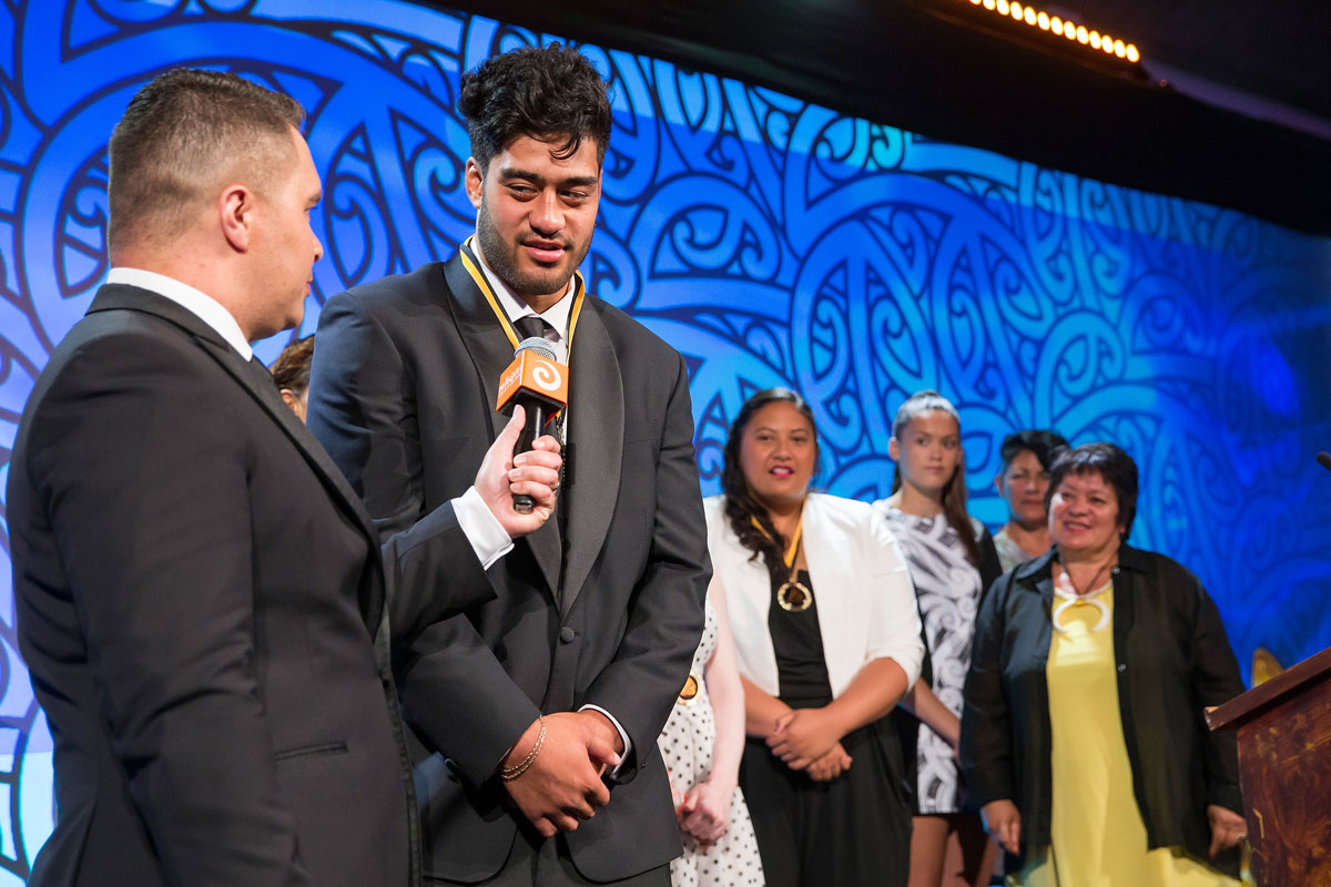 Akira Ioane, (Te Whanau-a-Apanui, Ngapuhi), Rugby is interviewed by Te Arahi Maipi at the Trillian Trust Maori Sports Awards, Turangawaewae Marae, River Road, Ngaruawahia, Saturday, November 28, 2015. Copyright photo: David Rowland / www.photosport.nz