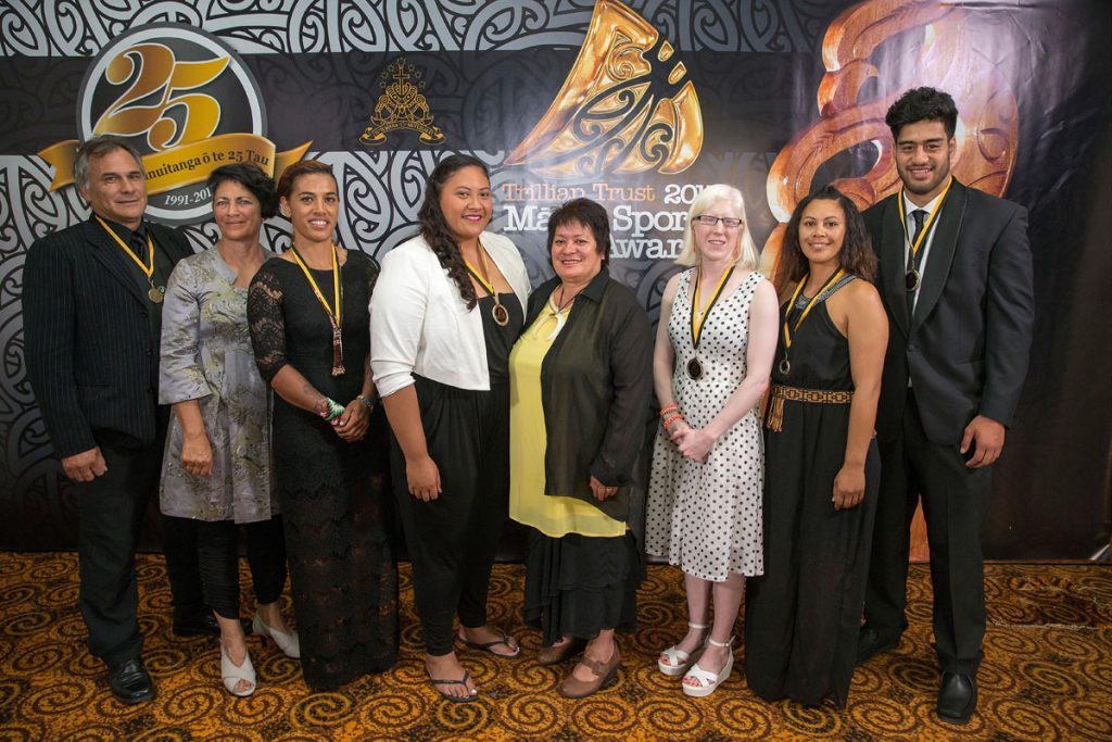 Maori in World Champions Teams Award representatives at the Trillian Trust Maori Sports Awards, Turangawaewae Marae, River Road, Ngaruawahia, Saturday, November 28, 2015. Copyright photo: David Rowland / www.photosport.nz