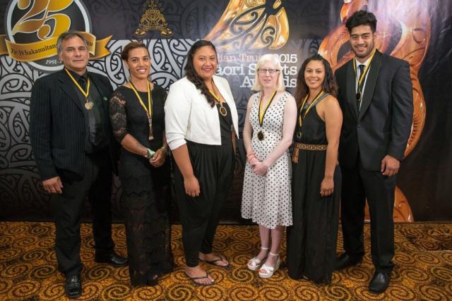 Maori in World Champions Teams Award representatives at the Trillian Trust Maori Sports Awards, Turangawaewae Marae, River Road, Ngaruawahia, Saturday, November 28, 2015. Copyright photo: David Rowland / www.photosport.nz