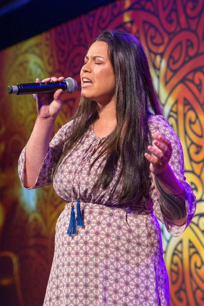 Maisey Rika entertains at the Trillian Trust Maori Sports Awards, Turangawaewae Marae, River Road, Ngaruawahia, Saturday, November 28, 2015. Copyright photo: David Rowland / www.photosport.nz