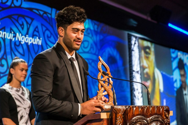 Akira Ioane, (Te Whanau-a-Apanui, Ngapuhi), Rugby receives the Junior Maori Sportsman Award at the Trillian Trust Maori Sports Awards, Turangawaewae Marae, River Road, Ngaruawahia, Saturday, November 28, 2015. Copyright photo: David Rowland / www.photosport.nz